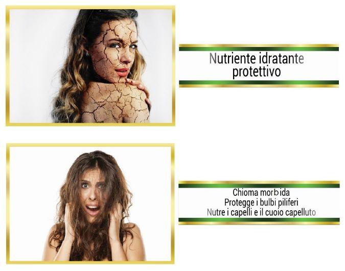 nutriente idratante protettivo pelle capelli nutre