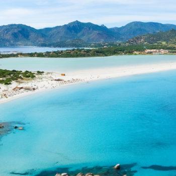 Aerial view of Villasimius  and Porto Giunco beach, Sardinia, Italy