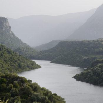 Scenic panorama of Cedrino river of Sardinia